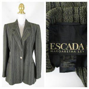 Vintage Escada Gray Black Metllic Blazer 38 8 M